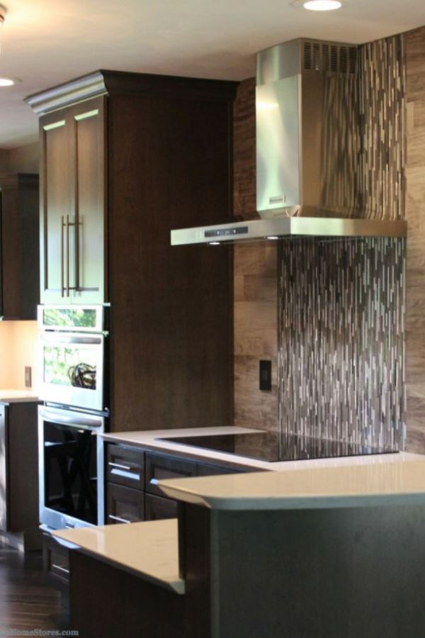 Rich Walnut with Metallic Skinny Bar Mosaic Tiles