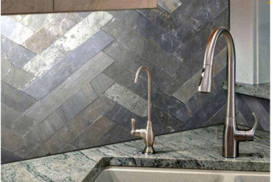 White Mountain Blue/Grey/Green Slatted Ledger Subway Slate Tiles available at Custom Home Interiors!