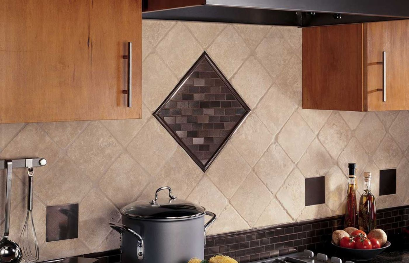 Natural Stone w/Metal Mosaic