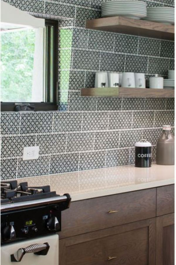 Petite Patterned Subway Tile with Black and White at Custom Home Interiors