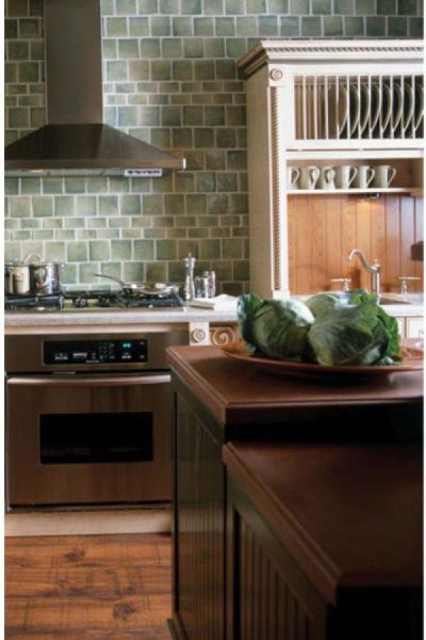 Emerald Glazed Subway Tiles by Custom Home Interiors
