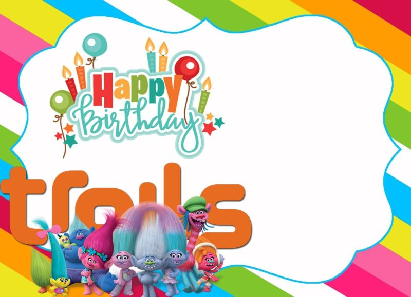 printable trolls birthday invitation