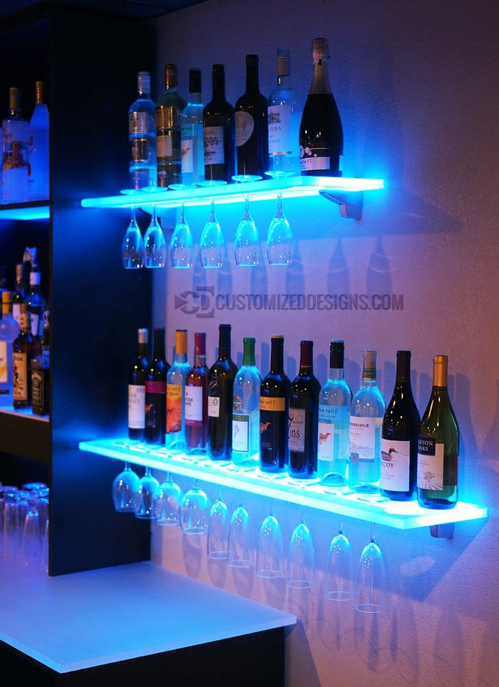 led wine glass rack shelving