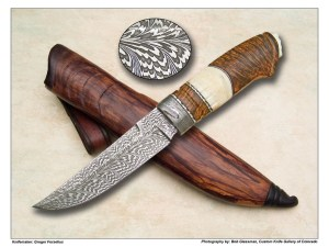 Greger Foselius Feather Damascus & Fossil Walrus Fighter