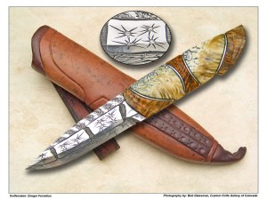 Greger Forselius Star Force Damascus & Wire Inlaid Puuko
