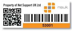 asset label with QR code