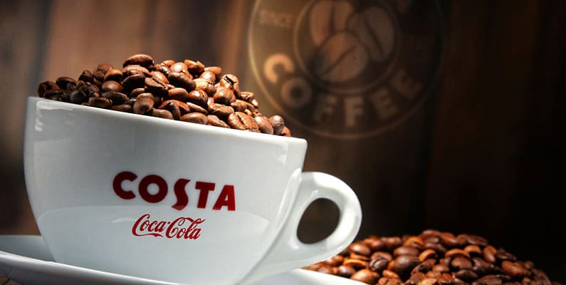 Coca Cola buys Costa Coffee from Whitbread for a reported £3.9bn.