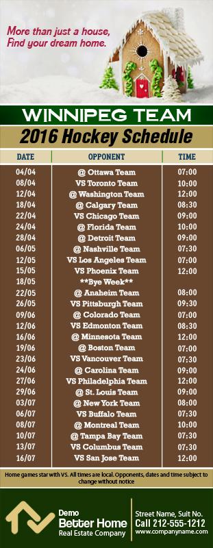 3.5x9 Custom One Team Winnipeg Team Hockey Schedule Real ...