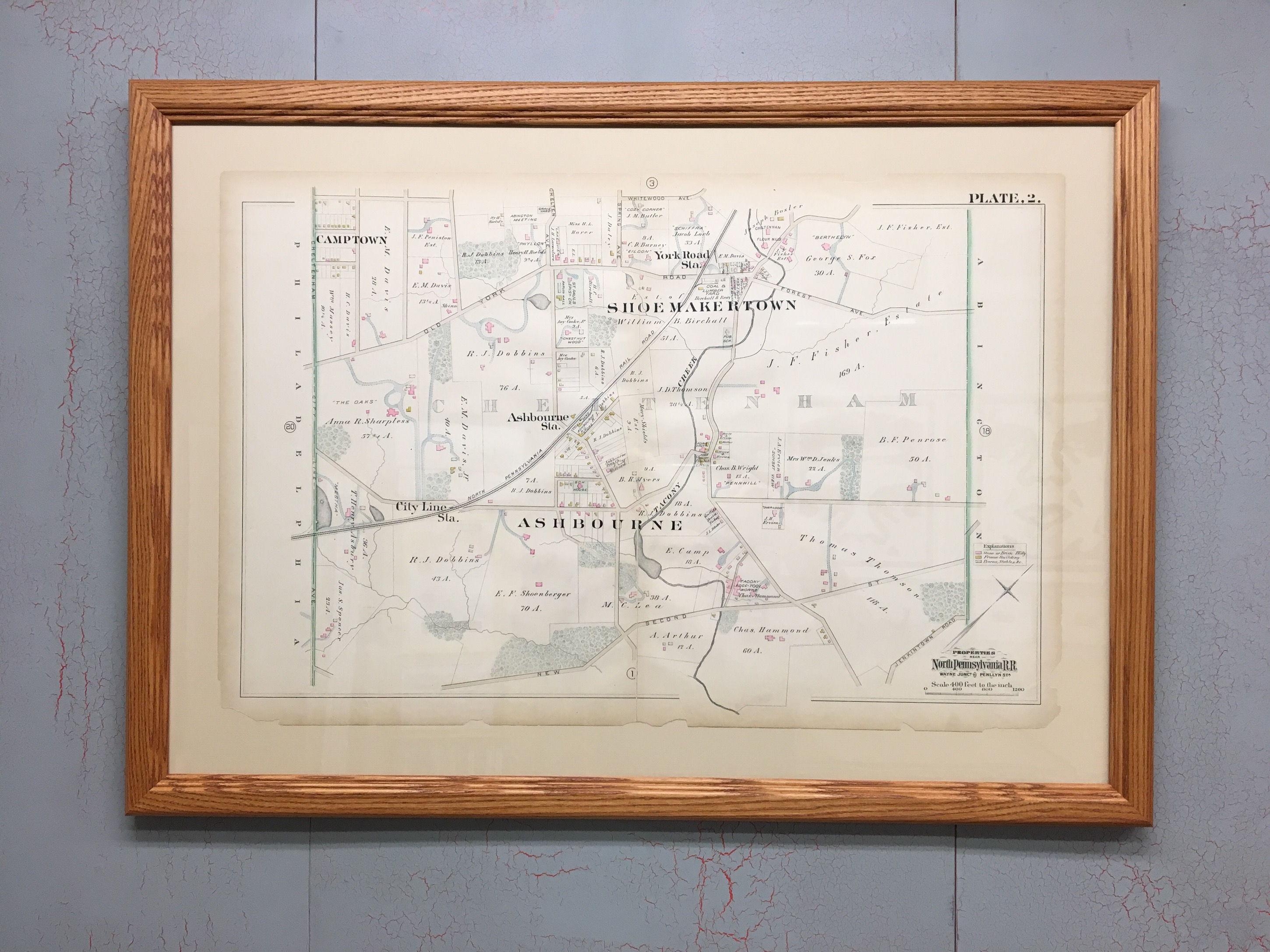 Philadelphia Map c.1880 that we Stabilized with Japanese Tissue ...