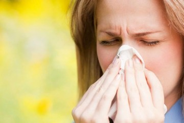 a woman with allergies