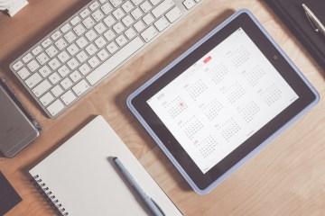 calendar, notepad, computer keyboard