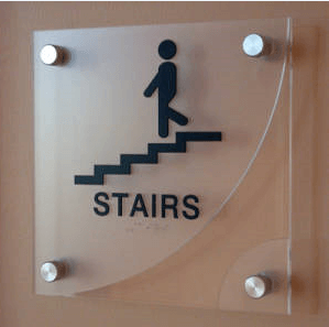 Floating Acrylic Stairs Sign
