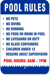 "White Sign w/ Blue Border, Blue and Red Text - ""Pool Rules"""