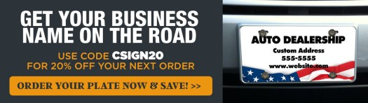 Get 20% Off Front License Plates with Code CSIGNS20, Custom Auto Dealership Front License Plate