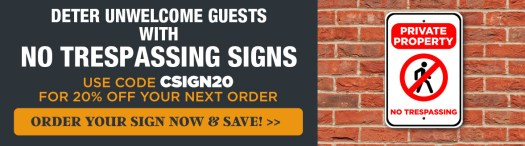 Get 20% Off Your Order with Code CSIGN20, Private Property No Trespassing Sign on Brick Wall