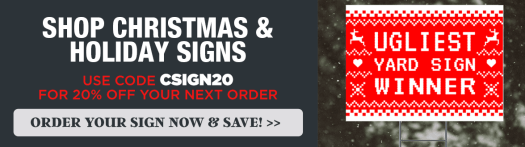shop christmas and holiday signs, use code csigns20 for 20% off your next order