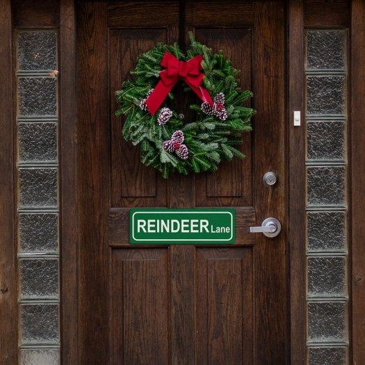 reindeer lane sign on door