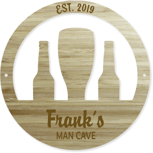 custom round engraved wood man cave sign