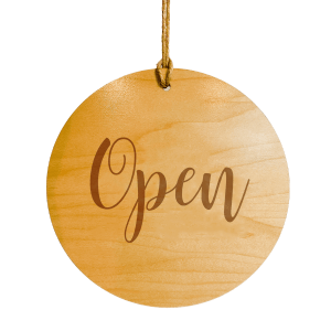 wood engraved open sign