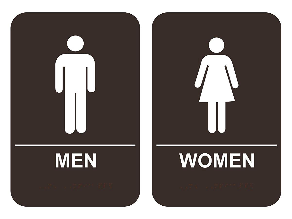 Men Amp Women S Bathroom Sign Set Ada Compliant Tactile Braille