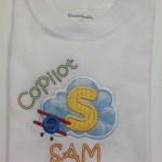 cloud and airplane applique with copilot and Sam for a younger brother
