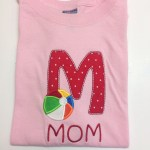 poka dot M applique with with primary color beach ball applique for Mom