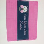 custom hand dyed pink burp cloth with cute grey and pink owl applique