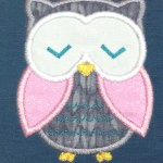 cute grey owl with pink wings applique