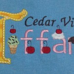 Ice cream cone applique with applique first letter of Tiffany