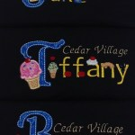 uniform shirts for Cedar Village with Ice Cream Cone applique on first letter and ice cream font for letters