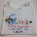 Grandpa makes me happy when skies are grey with rainy day font grey cloud and sunshine applique.