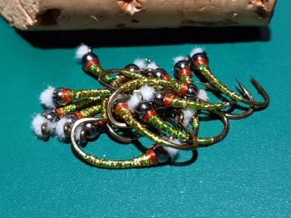 Kalamata Pimento Chironomid Pupa Fly - Black Bead Rusty Collar