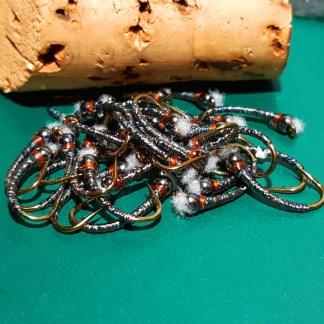 Silver Zucchini Chironomid Pupa Fly - Black Bead Rusty Collar