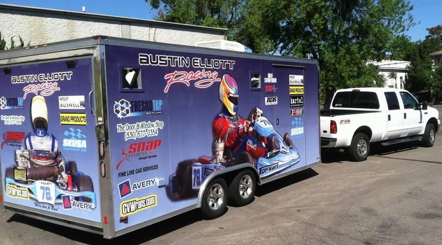 Trailer wrap for Austin Elliott Racing