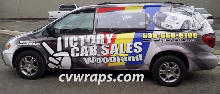 Minivan wrap for Victory Car Sales in Woodland CA