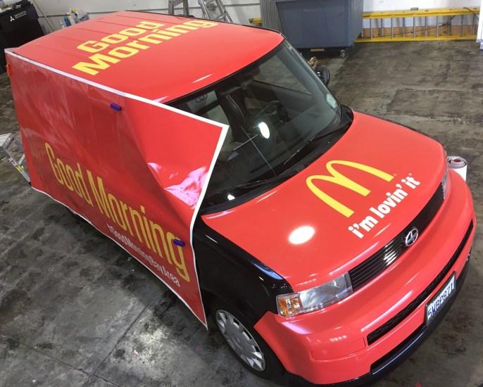 mcdonalds cube car wrap top