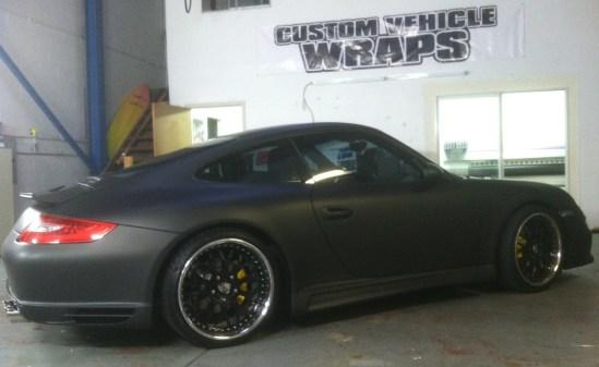 porsche matte black car wrap