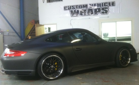 porsche matte black car wrap