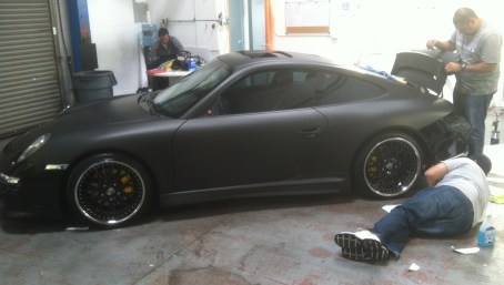 porsche matte black car wrapping-07