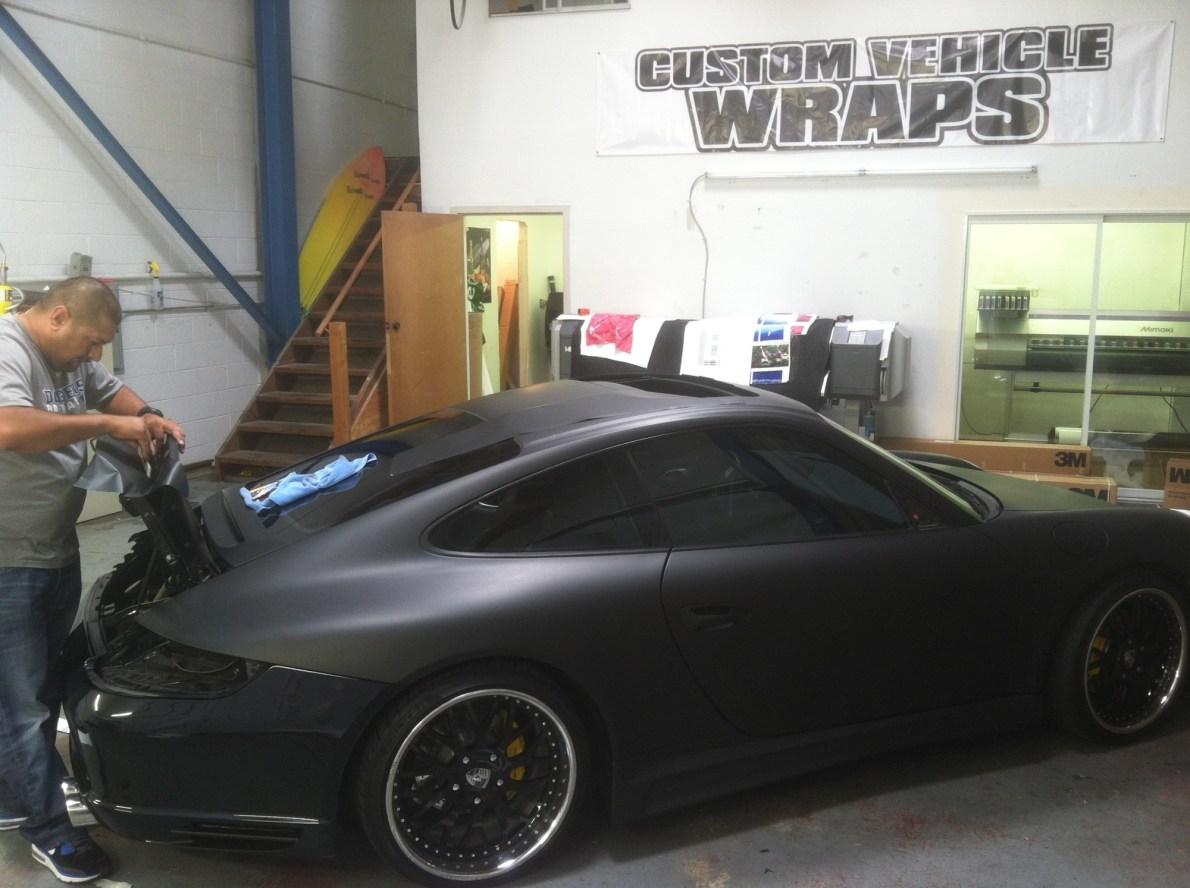 porsche matte black car wrapping