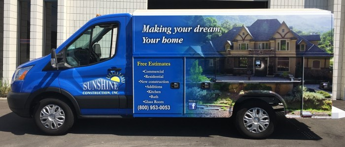 Sunshine Construction Van Wrap