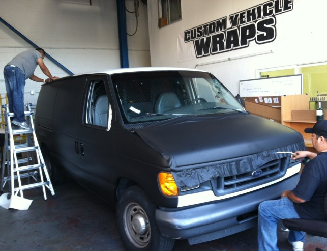 Wrapping a van with matte black 3m vinyl
