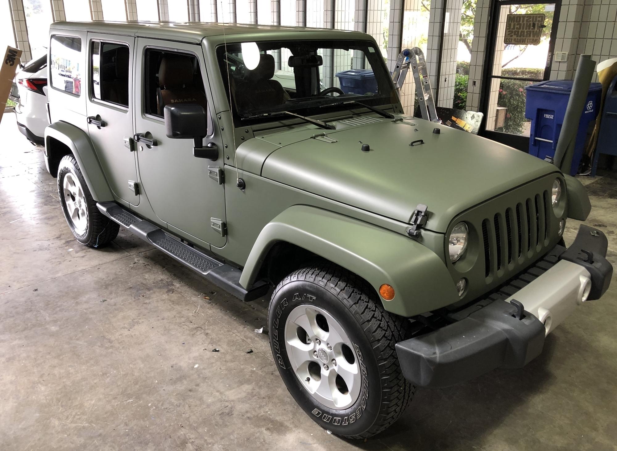 military green matte wrap jeep 10 – Custom Vehicle Wraps
