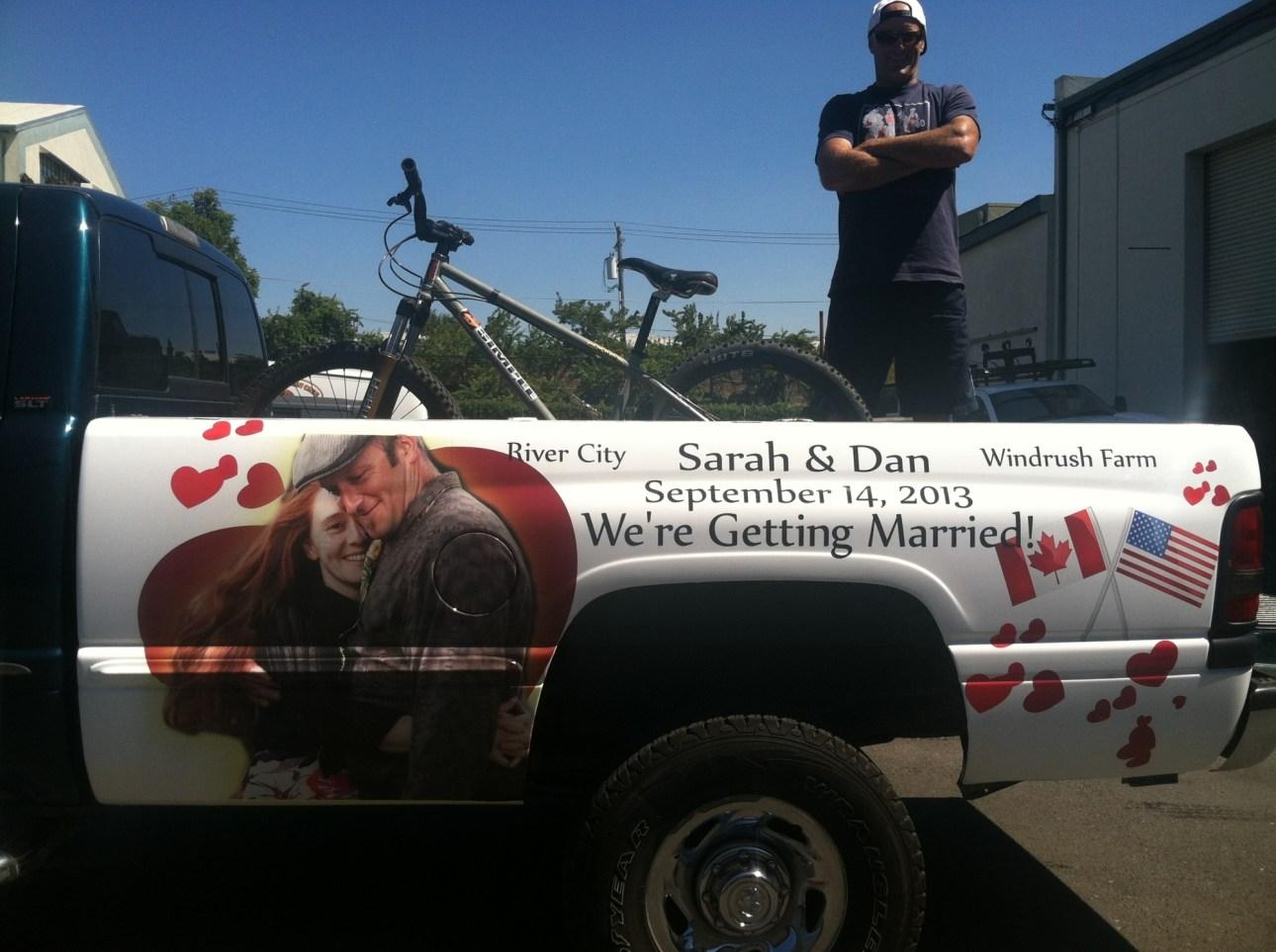 wedding truck wrap
