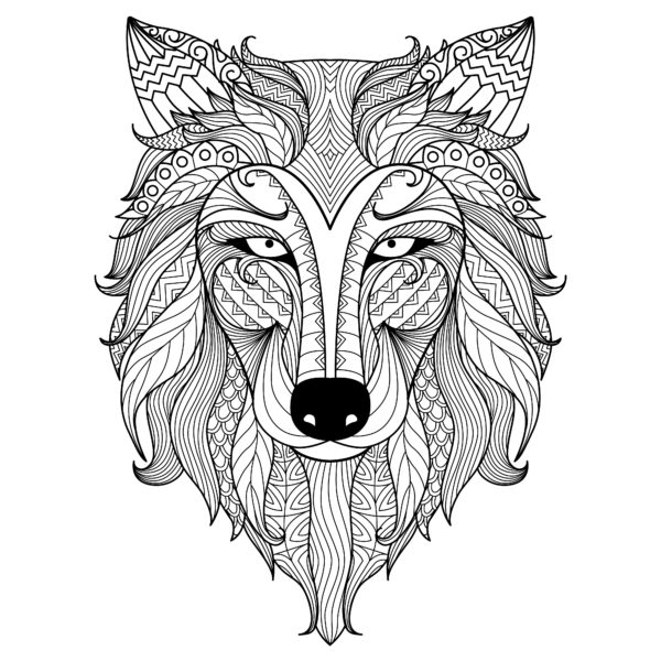 Detail Zentangle Wolf For Coloring Wall Custom Wallpaper