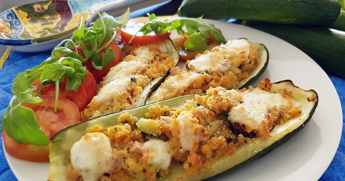 Zucchine ripiene, gratinate al forno: ottimo piatto unico, buono anche freddo con un fresco contorno