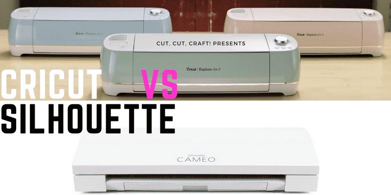 Cut, Cut, Craft! presents Cricut vs Silhouette. Three colorful Cricut machines sit above the Silhouette Cameo.
