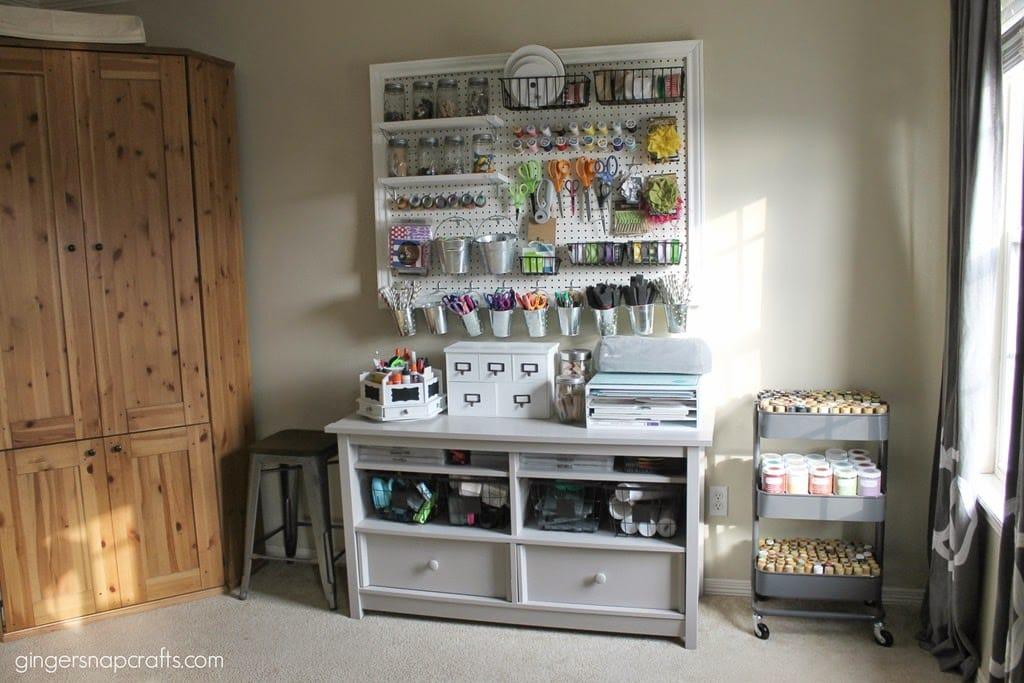 Amazing pegboard organization and hidden craft storage