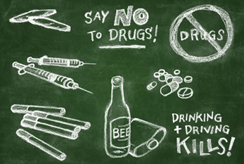 Anti drug chalkboard illustration