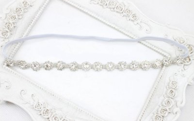 white Bling baby headbands with crystals